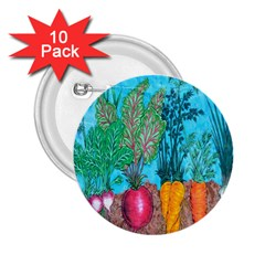 Mural Displaying Array Of Garden Vegetables 2 25  Buttons (10 Pack)