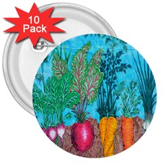 Mural Displaying Array Of Garden Vegetables 3  Buttons (10 Pack)