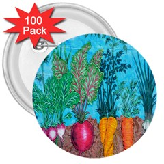 Mural Displaying Array Of Garden Vegetables 3  Buttons (100 pack)