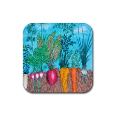 Mural Displaying Array Of Garden Vegetables Rubber Square Coaster (4 pack)