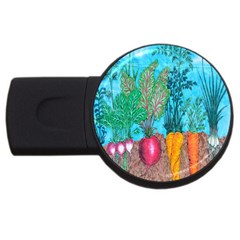 Mural Displaying Array Of Garden Vegetables USB Flash Drive Round (2 GB)