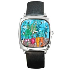Mural Displaying Array Of Garden Vegetables Square Metal Watch
