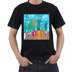 Mural Displaying Array Of Garden Vegetables Men s T Shirt (black) (two Sided)