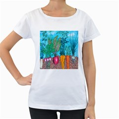 Mural Displaying Array Of Garden Vegetables Women s Loose Fit T Shirt (white)
