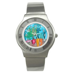 Mural Displaying Array Of Garden Vegetables Stainless Steel Watch