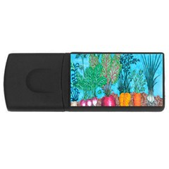 Mural Displaying Array Of Garden Vegetables USB Flash Drive Rectangular (4 GB)