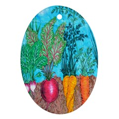 Mural Displaying Array Of Garden Vegetables Oval Ornament (Two Sides)