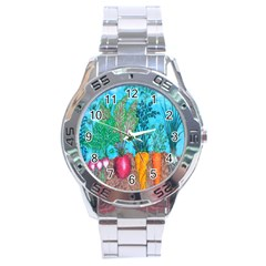 Mural Displaying Array Of Garden Vegetables Stainless Steel Analogue Watch