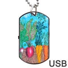 Mural Displaying Array Of Garden Vegetables Dog Tag USB Flash (Two Sides)