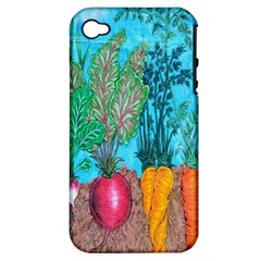 Mural Displaying Array Of Garden Vegetables Apple iPhone 4/4S Hardshell Case (PC+Silicone)