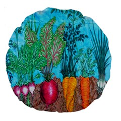 Mural Displaying Array Of Garden Vegetables Large 18  Premium Round Cushions