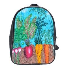 Mural Displaying Array Of Garden Vegetables School Bags (XL)