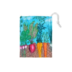 Mural Displaying Array Of Garden Vegetables Drawstring Pouches (Small)
