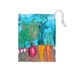 Mural Displaying Array Of Garden Vegetables Drawstring Pouches (Medium)