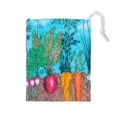 Mural Displaying Array Of Garden Vegetables Drawstring Pouches (large)