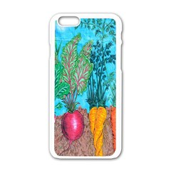 Mural Displaying Array Of Garden Vegetables Apple iPhone 6/6S White Enamel Case