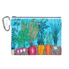 Mural Displaying Array Of Garden Vegetables Canvas Cosmetic Bag (L)