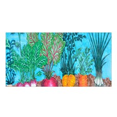 Mural Displaying Array Of Garden Vegetables Satin Shawl