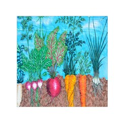 Mural Displaying Array Of Garden Vegetables Small Satin Scarf (Square)