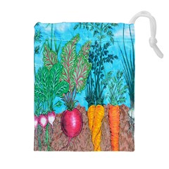 Mural Displaying Array Of Garden Vegetables Drawstring Pouches (Extra Large)