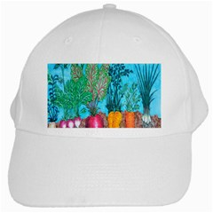 Mural Displaying Array Of Garden Vegetables White Cap