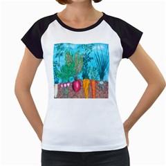 Mural Displaying Array Of Garden Vegetables Women s Cap Sleeve T