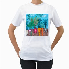 Mural Displaying Array Of Garden Vegetables Women s T Shirt (white) (two Sided)