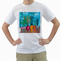 Mural Displaying Array Of Garden Vegetables Men s T-Shirt (White) (Two Sided)