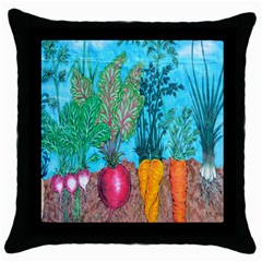 Mural Displaying Array Of Garden Vegetables Throw Pillow Case (Black)