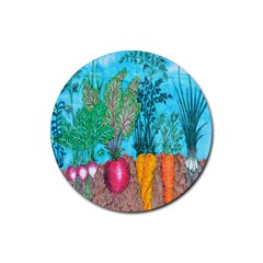 Mural Displaying Array Of Garden Vegetables Rubber Round Coaster (4 Pack)