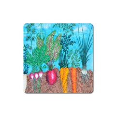 Mural Displaying Array Of Garden Vegetables Square Magnet