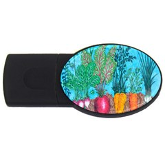 Mural Displaying Array Of Garden Vegetables USB Flash Drive Oval (2 GB)