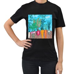 Mural Displaying Array Of Garden Vegetables Women s T Shirt (black) (two Sided)