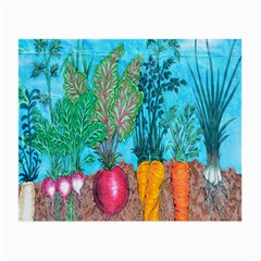 Mural Displaying Array Of Garden Vegetables Small Glasses Cloth
