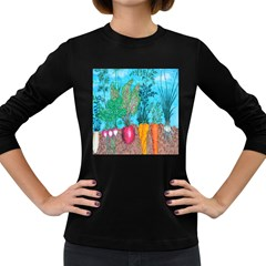 Mural Displaying Array Of Garden Vegetables Women s Long Sleeve Dark T-Shirts