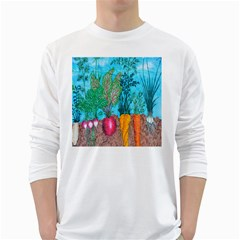 Mural Displaying Array Of Garden Vegetables White Long Sleeve T-Shirts