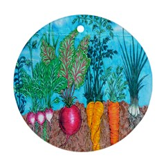 Mural Displaying Array Of Garden Vegetables Round Ornament (two Sides)