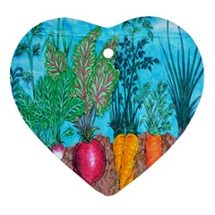 Mural Displaying Array Of Garden Vegetables Heart Ornament (two Sides)