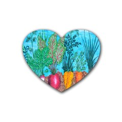 Mural Displaying Array Of Garden Vegetables Heart Coaster (4 Pack)