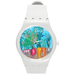 Mural Displaying Array Of Garden Vegetables Round Plastic Sport Watch (M)