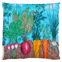 Mural Displaying Array Of Garden Vegetables Large Cushion Case (Two Sides)