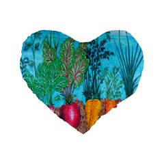 Mural Displaying Array Of Garden Vegetables Standard 16  Premium Heart Shape Cushions