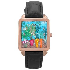 Mural Displaying Array Of Garden Vegetables Rose Gold Leather Watch