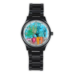 Mural Displaying Array Of Garden Vegetables Stainless Steel Round Watch