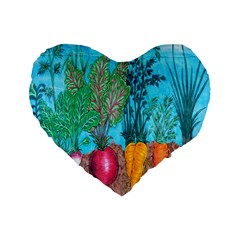 Mural Displaying Array Of Garden Vegetables Standard 16  Premium Flano Heart Shape Cushions