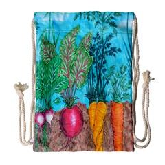 Mural Displaying Array Of Garden Vegetables Drawstring Bag (large)