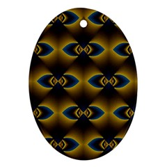 Fractal Multicolored Background Ornament (oval)