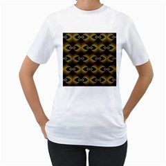 Fractal Multicolored Background Women s T-Shirt (White) (Two Sided)