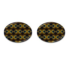 Fractal Multicolored Background Cufflinks (oval)