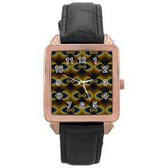 Fractal Multicolored Background Rose Gold Leather Watch
